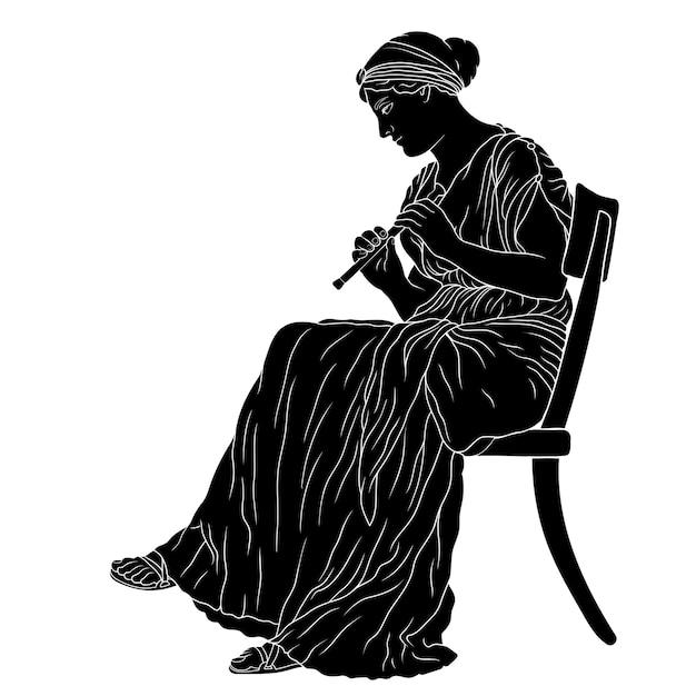 Un'antica donna greca in tunica si siede su una sedia e suona la pipa. Vettore Premium