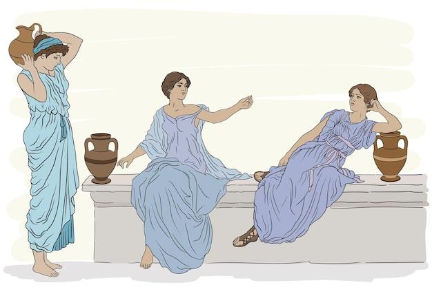 Le donne greche antiche in tuniche con brocche di argilla parlano tra loro Vettore Premium