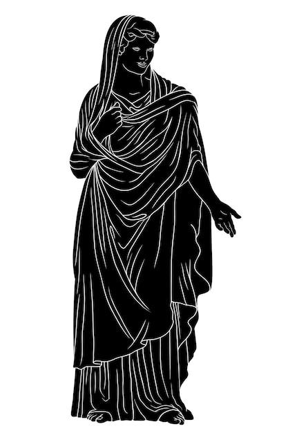 Un'antica giovane donna greca con tunica e mantello si alza e fa dei gesti. Vettore Premium