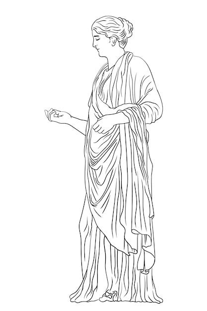 Un'antica giovane donna greca in tunica e mantello si alza distoglie lo sguardo e fa un gesto. figura isolata su sfondo bianco. Vettore Premium
