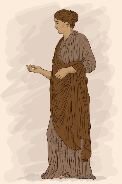 Un'antica giovane donna greca in tunica e mantello si alza distoglie lo sguardo e fa un gesto. Vettore Premium
