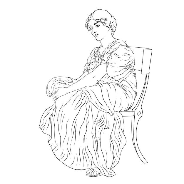 Una giovane donna greca antica in una tunica si siede su una sedia figura isolata su sfondo bianco Vettore Premium