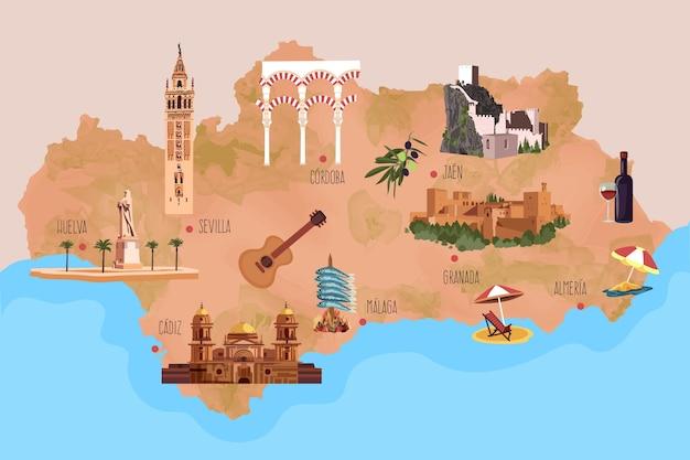Mappa dell'andalusia con punti di riferimento illustrati Vettore Premium