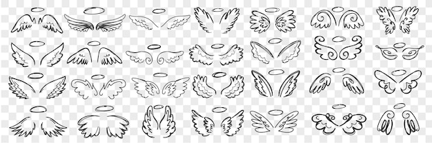 Insieme di doodle di ali e aureola di angeli. collezione di ali disegnate a mano e aloni di accessori di angeli del personaggio santo in righe isolate. Vettore Premium