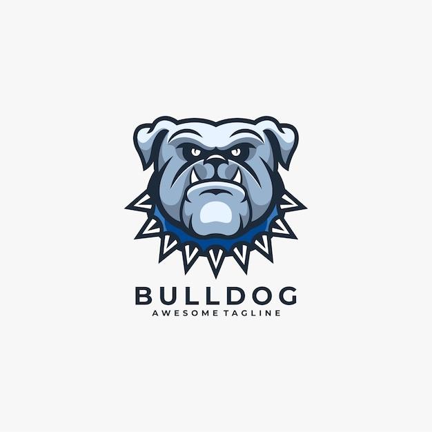 Logo del fumetto bulldog blu arrabbiato Vettore Premium