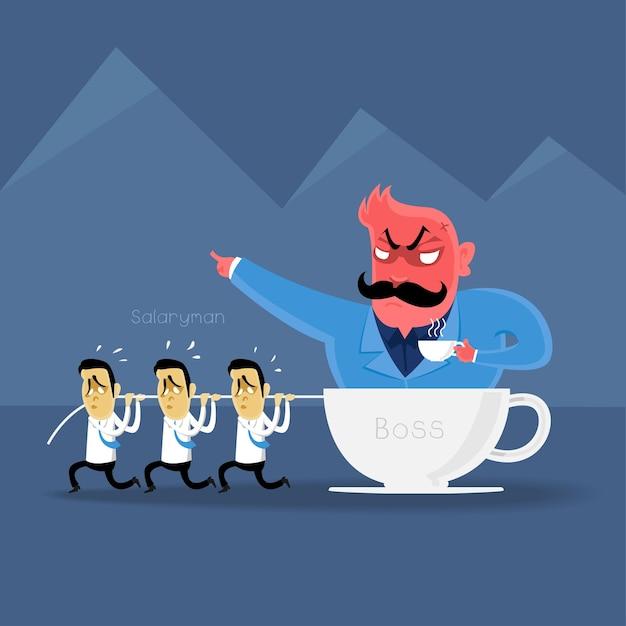 Azione di capo arrabbiato al salaryman in orario lavorativo Vettore Premium