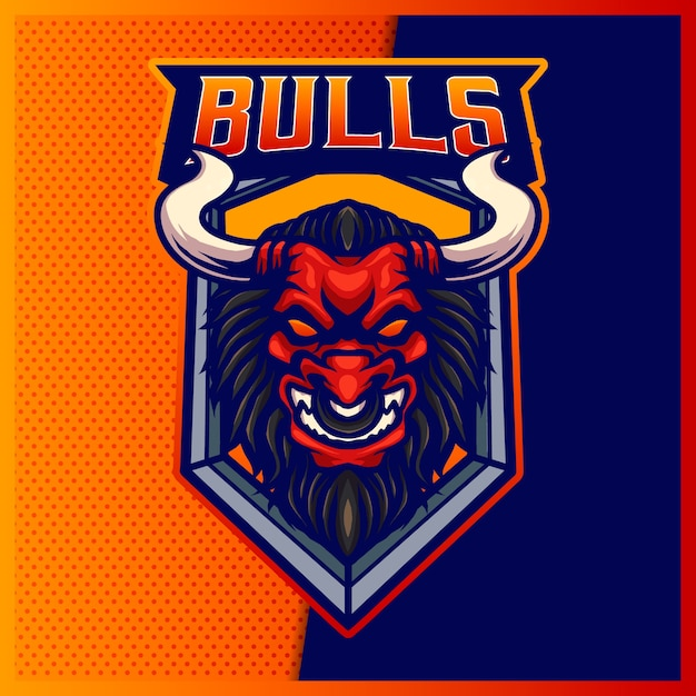 Logo della mascotte sportiva e esport della bestia del toro arrabbiato Vettore Premium