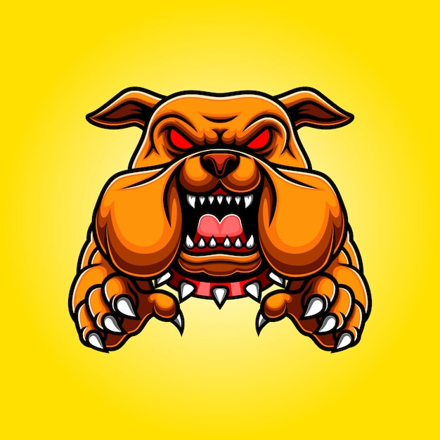 Corpo arrabbiato della mascotte del bulldog con zampe e artigli Vettore Premium