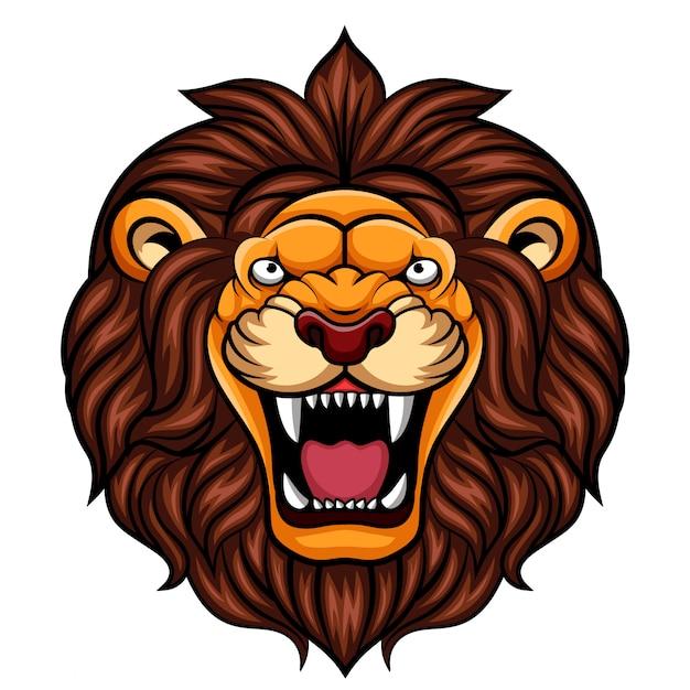 Mascotte testa di leone arrabbiato del fumetto Vettore Premium