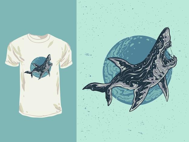 Il pesce squalo blu faccia arrabbiata con un'illustrazione di stile del fumetto Vettore Premium