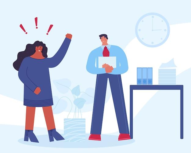 Capo femminile arrabbiato che urla al dipendente. il lavoratore è spaventato. molestie sul posto di lavoro. Vettore Premium