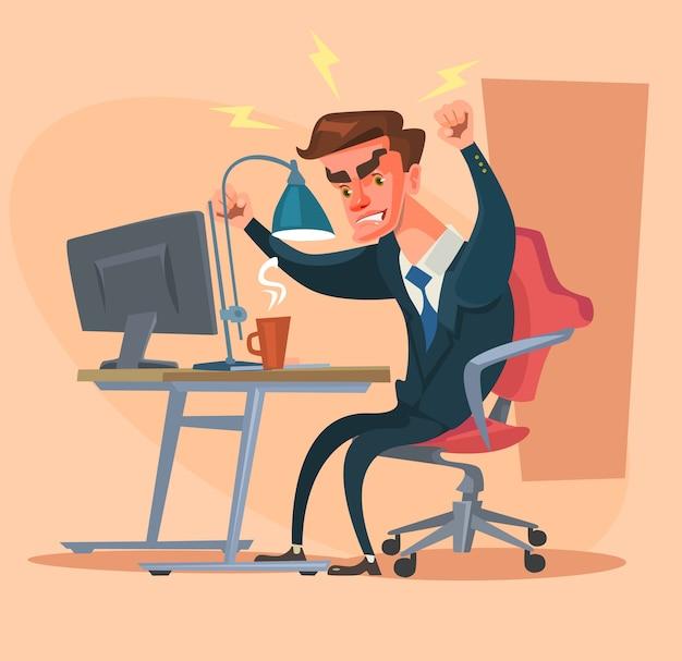 Carattere dell'uomo arrabbiato dell'ufficio isolato sul beige Vettore Premium