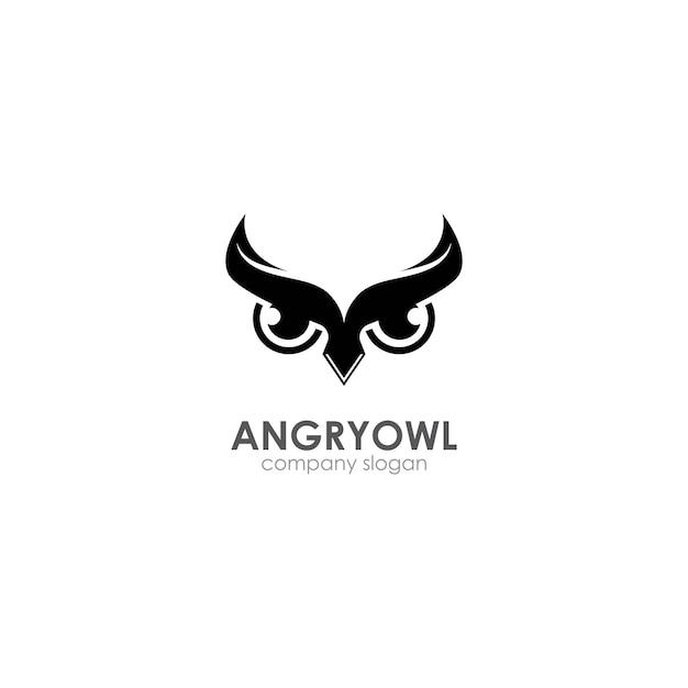 Modello di logo del gufo arrabbiato, emblema, simbolo creativo, icona Vettore Premium