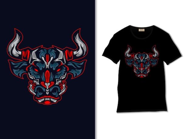 Illustrazione di toro rosso arrabbiato con design t-shirt Vettore Premium