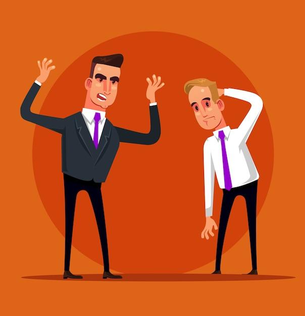 Arrabbiato urlando gridando capo sgridare impiegato manager di impiegato. fallire il licenziamento. Vettore Premium