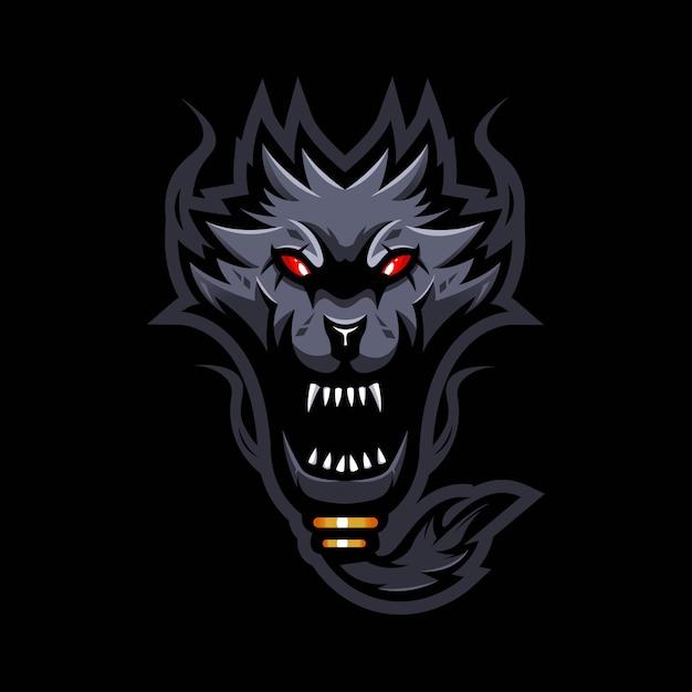 Logo design mascotte lupo arrabbiato con stile moderno concetto illustrazione. illustrazione di lupo barbuto Vettore Premium