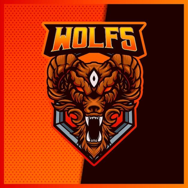 Angry wolves esport e design del logo mascotte sportive Vettore Premium