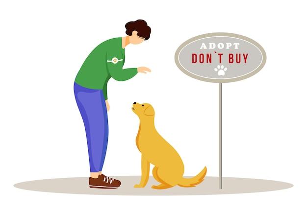 Illustrazione di adozione animale giovane volontario nei personaggi dei cartoni animati del rifugio per cani su fondo bianco. concetto volontario di cura dell'animale domestico. attivista che adotta un animale senza dimora abbandonato Vettore Premium