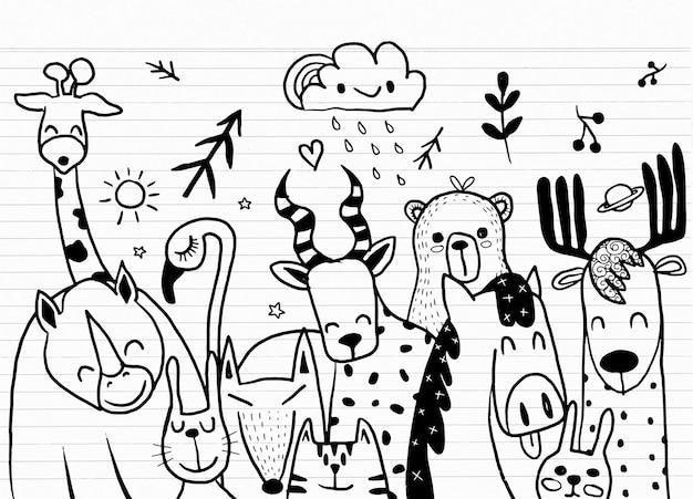 Illustrazione stabilita del fumetto animale, animali di schizzo del fumetto sveglio per la stampa, tessile, toppa, prodotto per bambini, cuscino, regalo Vettore Premium