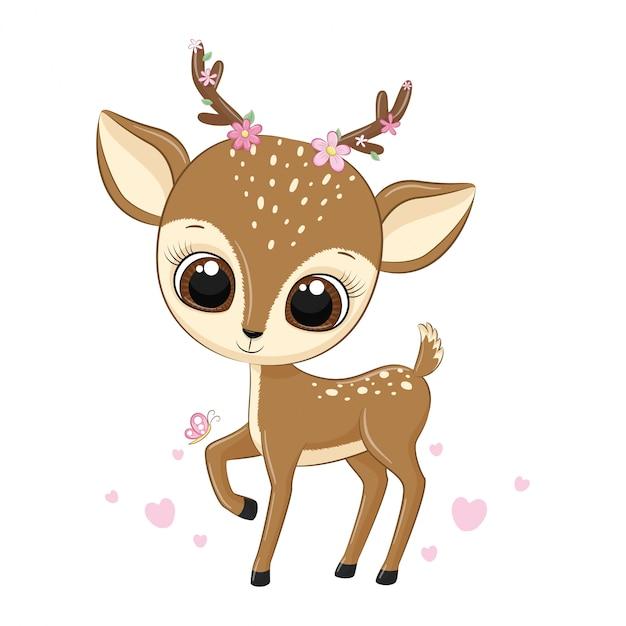 Illustrazione animale carino cervo con fiori. Vettore Premium