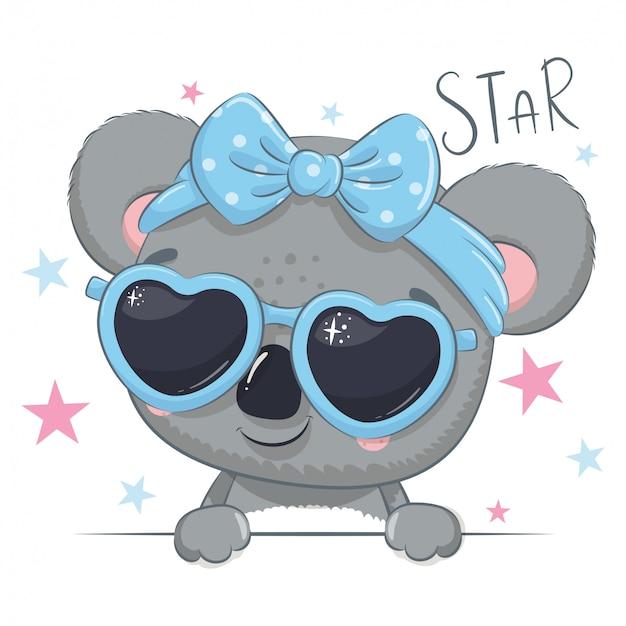 Illustrazione animale con koala ragazza carina con gli occhiali. Vettore Premium
