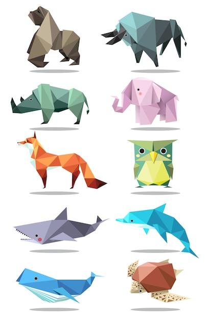 Origami animali Vettore Premium