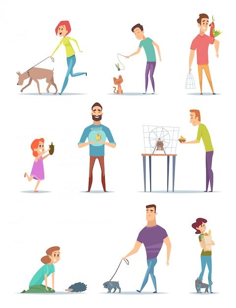 Proprietari di animali. felici animali domestici con cartoni animati di giovani cani maschi e femmine animali cani cani a piedi Vettore Premium