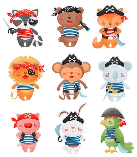 Personaggi di animali pirati in stile cartone animato. insieme di piccola illustrazione divertente sveglia dei pirati. Vettore Premium