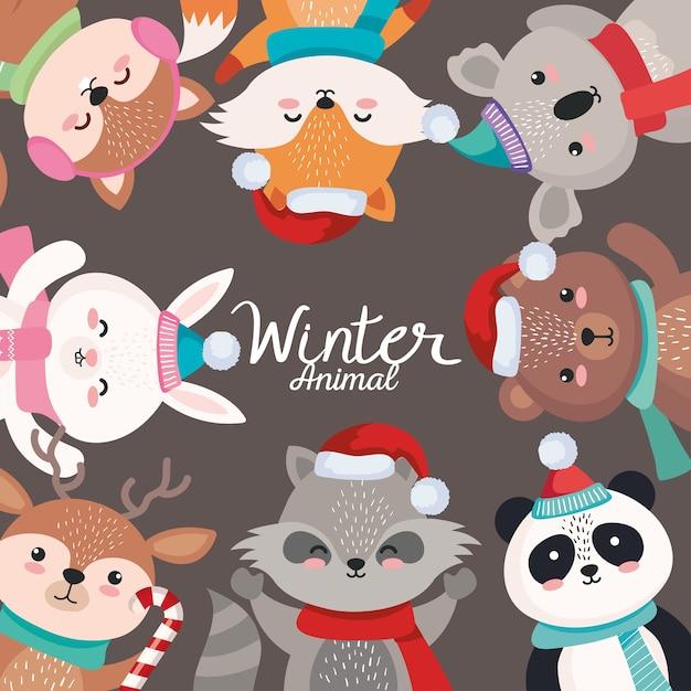 Cartoni animati di animali in buon natale stagione design, inverno e illustrazione a tema decorazione Vettore Premium