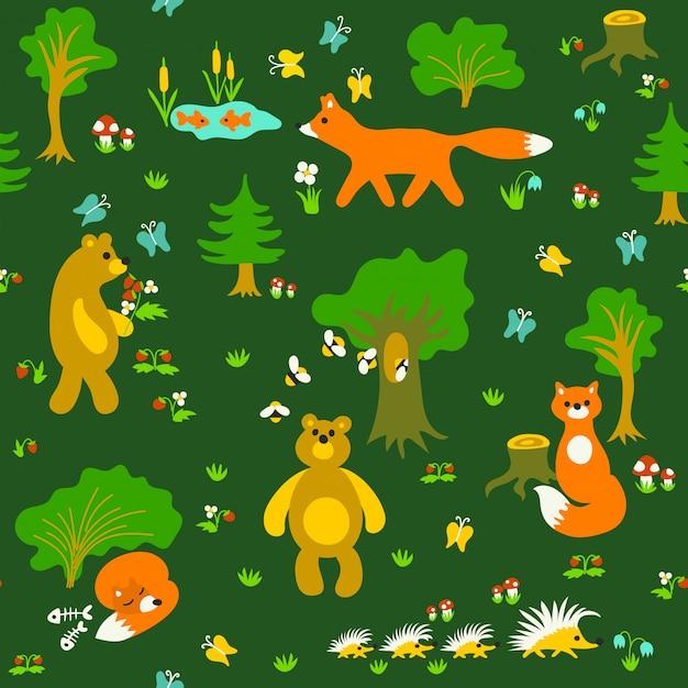 Animali nel reticolo senza giunte della foresta Vettore Premium