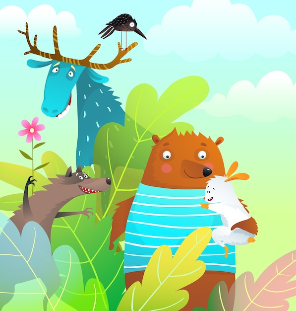 Gli amici degli animali sopportano il coniglio e il lupo delle alci nella cartolina d'auguri sorridente felice di storia della fauna selvatica della foresta. Vettore Premium