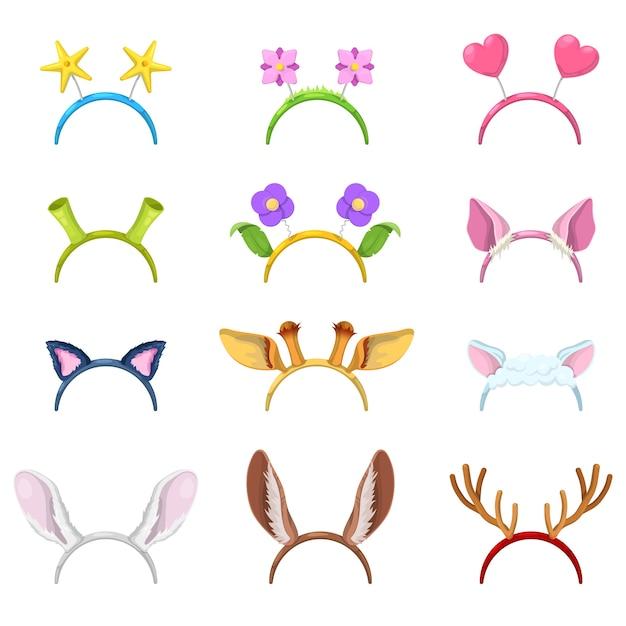 Collezione di maschere animali con orecchie isolate di maiale, gatto e coniglio. Vettore Premium
