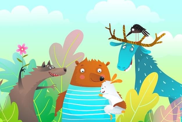 Animali alci orso lupo e coniglio personaggi amicizia ritratto nella natura con alberi. Vettore Premium
