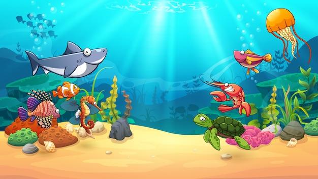 Animali nel mondo sottomarino Vettore Premium
