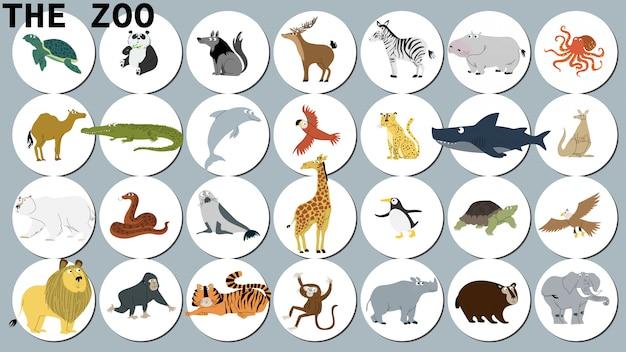 Animali del mondo Vettore Premium