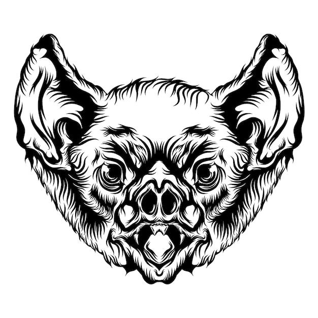 Animazione della testa di pipistrello con contorno nero per le idee del tatuaggio Vettore Premium