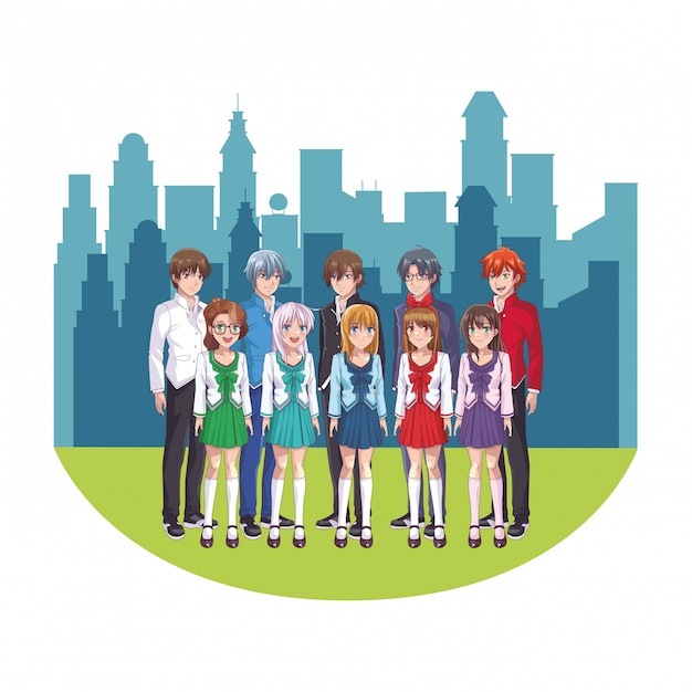 Gruppo anime manga Vettore Premium