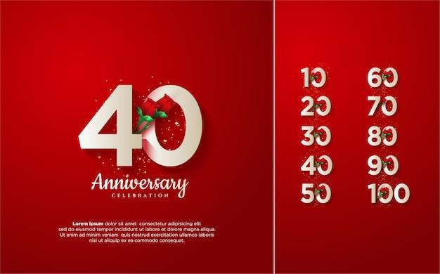 Numero anniversario 10 100 con illustrazioni di numeri bianchi con rose rosse. Vettore Premium
