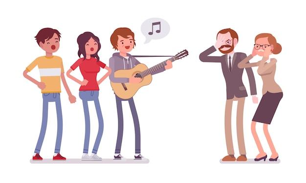 Conflitto musicale fastidioso Vettore Premium