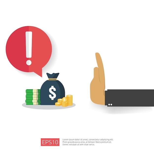 Anti corruzione, stop e corruzione del declino. corruzione di affari con denaro in una busta e segnale di avvertimento di divieto. illustrazione in stile piano per banner, sfondo e presentazione Vettore Premium