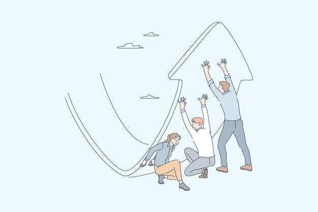 Strategia anti crisi, gestione degli investimenti, raccolta di profitti, concetto di business Vettore Premium