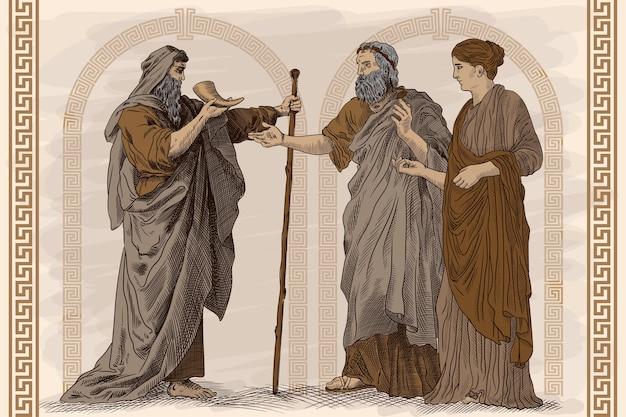 Antico affresco, una scena della vita dell'antica grecia. due vecchi e una giovane donna snella sono in piedi, parlano e bevono vino dal corno. Vettore Premium