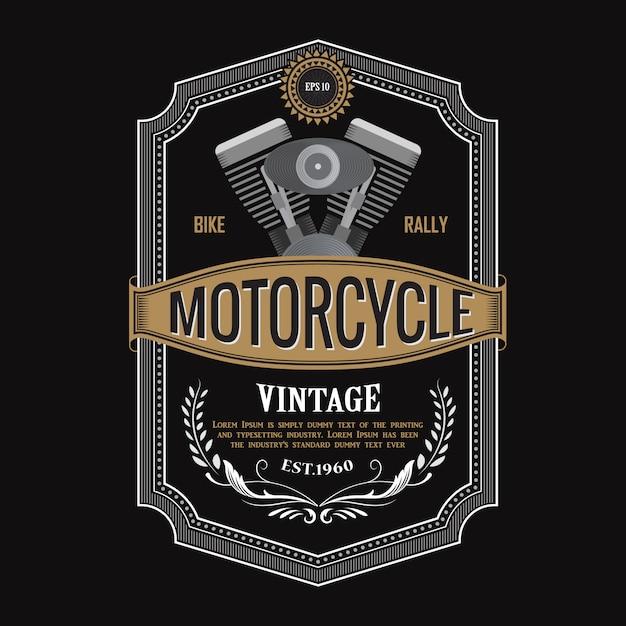 Disegno dell'etichetta antica illustrazione di tipografia del motore del motociclo Vettore Premium