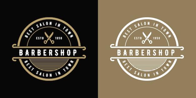 Design del logo da barbiere in stile occidentale vintage di lusso antico adatto per salone spa bellezza parrucchiere moda capelli cura e cura della pelle attività di barbiere Vettore Premium