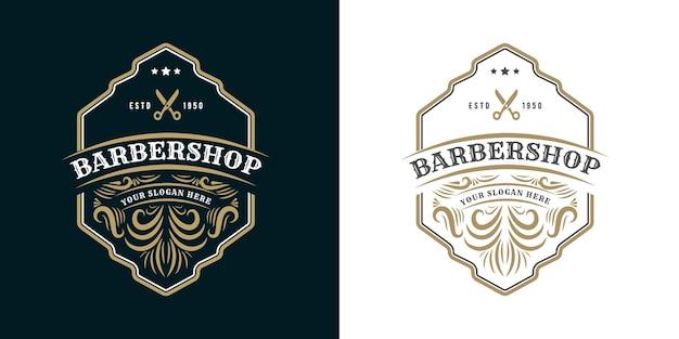 Logo calligrafico vittoriano di lusso retrò antico con cornice ornamentale per parrucchiere da barbiere Vettore Premium