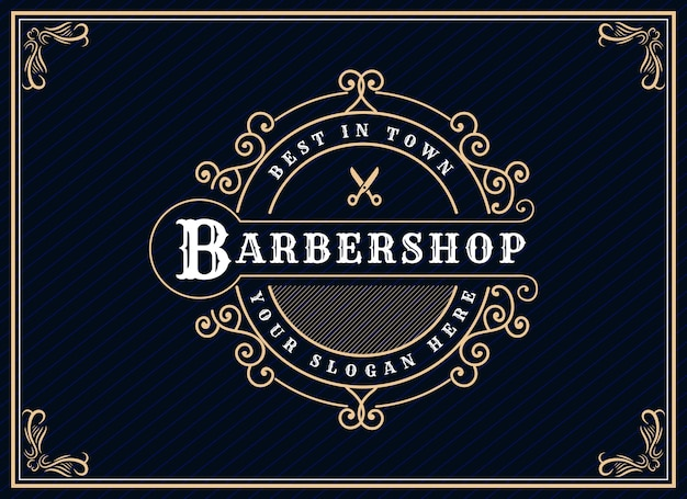 Logo calligrafico vittoriano di lusso retrò antico con cornice ornamentale adatto per barbiere Vettore Premium
