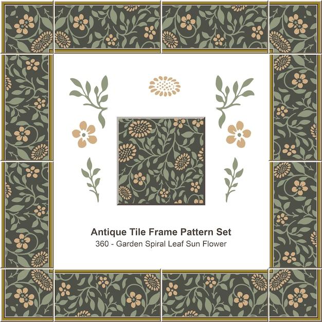 Modello di cornice di piastrelle antiche impostato garden spiral leaf sun flower Vettore Premium