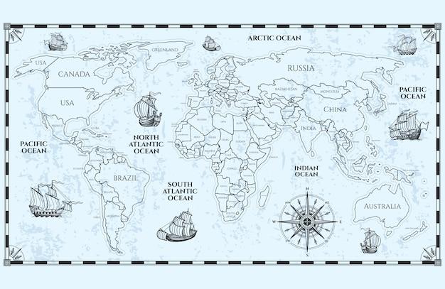 Antica mappa del mondo con confini e navi Vettore Premium