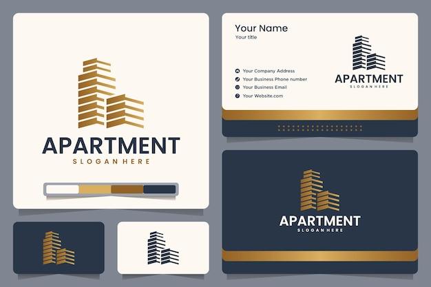 Appartamento, immobiliare, logo design e biglietto da visita Vettore Premium