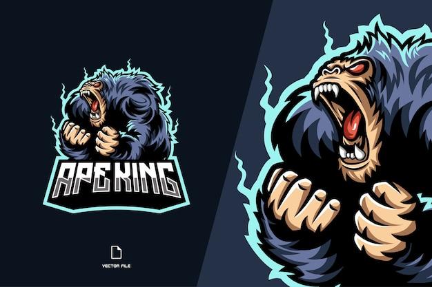 Modello di progettazione logo gioco mascotte scimmia re scimmia Vettore Premium
